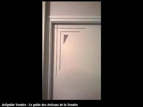 Décor filet en peinture sur portes